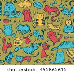vector seamless pattern with... | Shutterstock .eps vector #495865615