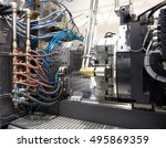 injection molding machines in a ... | Shutterstock . vector #495869359