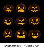 set of jack o lanterns  faces... | Shutterstock .eps vector #495869734