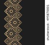 golden frame in oriental style. ... | Shutterstock .eps vector #495870001