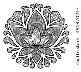 hand drawn ornamental lotus... | Shutterstock .eps vector #495870247