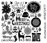 christmas holiday icons. merry... | Shutterstock .eps vector #495872977