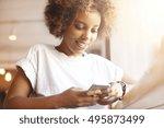 portrait of good looking... | Shutterstock . vector #495873499