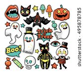 halloween set of patches with... | Shutterstock .eps vector #495878785