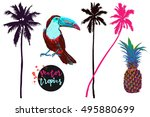 palm trees  pineapple  toucan ... | Shutterstock .eps vector #495880699