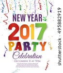 new year 2017 party poster... | Shutterstock .eps vector #495882919