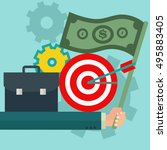 business goals and aims with... | Shutterstock .eps vector #495883405