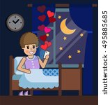 girl in bed. a girl reads a... | Shutterstock .eps vector #495885685
