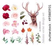 autumn floral mix  reindeer... | Shutterstock .eps vector #495885931