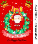 merry christmas wreath with... | Shutterstock .eps vector #495885949