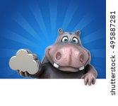 hippo   3d illustration | Shutterstock . vector #495887281