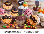 Halloween Cupcakes With Colore...