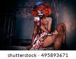 bloody scary clown. halloween.... | Shutterstock . vector #495893671