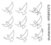One Line Dove Flies Design...