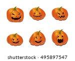halloween set with pumpkins | Shutterstock .eps vector #495897547