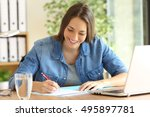 happy freelance signing or... | Shutterstock . vector #495897781