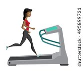 black woman running on... | Shutterstock .eps vector #495899731