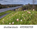 Steel girder bridge on the road that crosses Russian forest. - stock photo