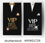 vip pass cards with men's suit... | Shutterstock .eps vector #495901729