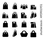 shopping bag icon set | Shutterstock .eps vector #495901951