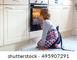 cute funny blond kid boy baking ... | Shutterstock . vector #495907291