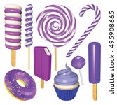 set of blueberry sweets and... | Shutterstock .eps vector #495908665