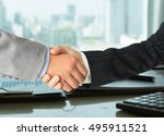 business partners shaking hands ... | Shutterstock . vector #495911521