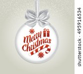 christmas card with frame and... | Shutterstock .eps vector #495916534