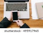 business woman using smart... | Shutterstock . vector #495917965