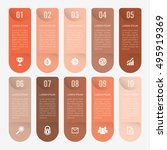 infographic template orange 10... | Shutterstock .eps vector #495919369