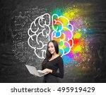 portrait of girl with notebook... | Shutterstock . vector #495919429