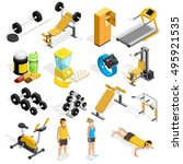 gym and fitness isometric icons ... | Shutterstock .eps vector #495921535
