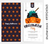 hallowen flyer template. scary... | Shutterstock .eps vector #495924565