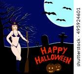 halloween dark background. sexy ... | Shutterstock .eps vector #495924601