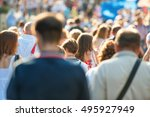 crowd of people walking on the... | Shutterstock . vector #495927949