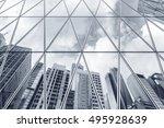 reflection of urban skyline on... | Shutterstock . vector #495928639