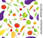 seamless pattern of vegetables... | Shutterstock .eps vector #495928714
