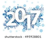 text 2017 with blue snowflakes... | Shutterstock .eps vector #495928801