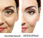 woman face before and after... | Shutterstock . vector #495929965