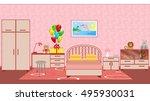 children bedroom interior with... | Shutterstock .eps vector #495930031
