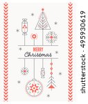 merry christmas greeting card... | Shutterstock .eps vector #495930619