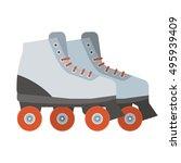 white woman roller blades. girl ... | Shutterstock .eps vector #495939409