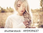 outdoor fashion photo of young... | Shutterstock . vector #495939637
