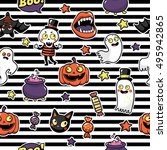 halloween seamless pattern with ... | Shutterstock .eps vector #495942865