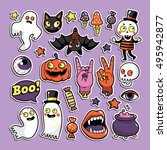 halloween set of patches with... | Shutterstock .eps vector #495942877