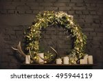 Christmas Wreath Above Mantel...