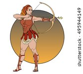 zodiac sign with athletic girl  ... | Shutterstock .eps vector #495944149
