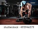 fitness strength training... | Shutterstock . vector #495946579