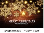 christmas greeting card and... | Shutterstock .eps vector #495947125