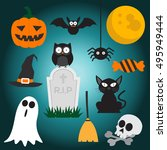 set of halloween element.... | Shutterstock .eps vector #495949444